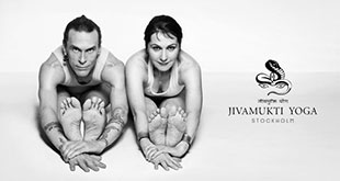 Jivamukti Yoga founders Sharon Gannon and David Life forward bending on a white background with the Jivamukti Yoga Stockholm logo